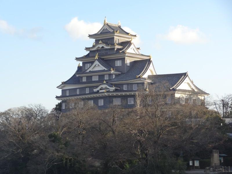 遠くから見る岡山城