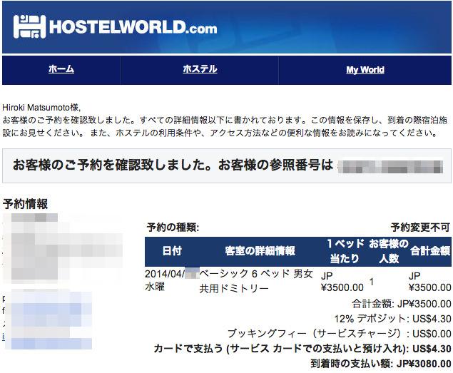 Hostelworldからの確認メール