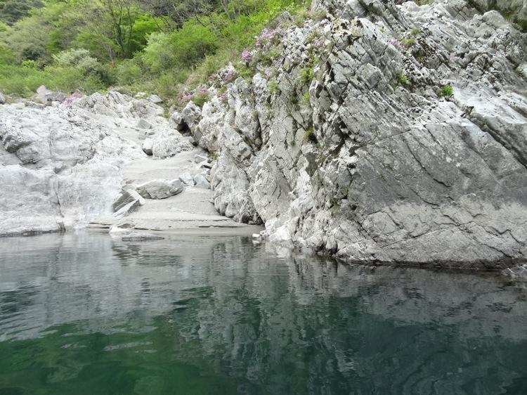 大歩危峡観光遊覧船 自然にできた岩