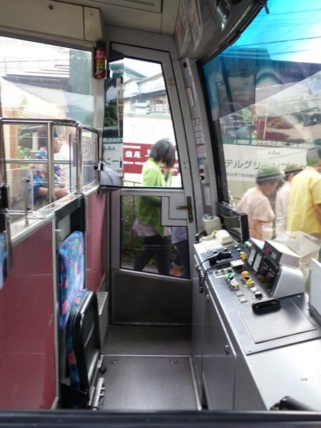箱根登山ケーブルカーの運転席