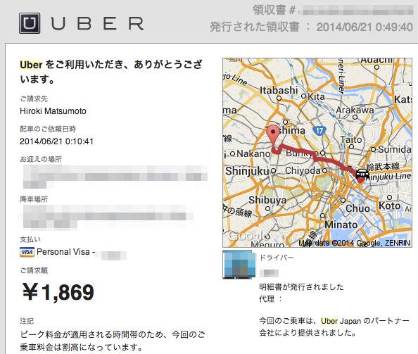 Uberの領収証