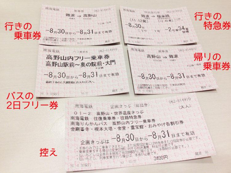 高野山・世界遺産きっぷ 往復のきっぷ