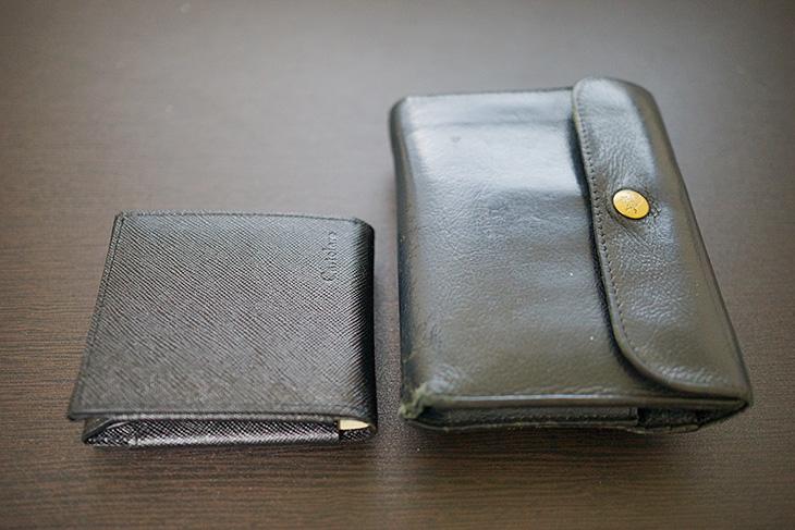 Cartolare(カルトラーレ)のハンモックウォレットと以前の財布との大きさ比較