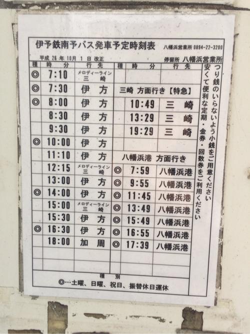 八幡浜駅前バス停時刻表