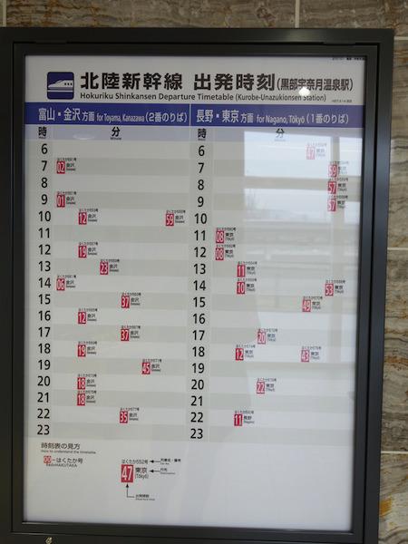 黒部宇奈月温泉駅 時刻表