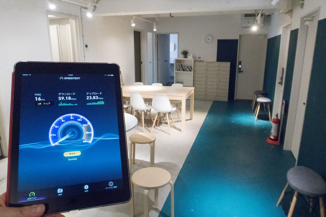 imanoのWi-Fi共有スペースで測定