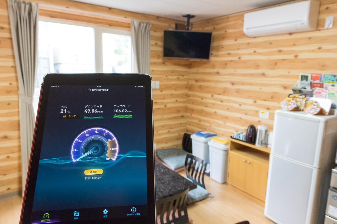 函館ゲストハウスAppleのWi-Fiをフリースペースで測定