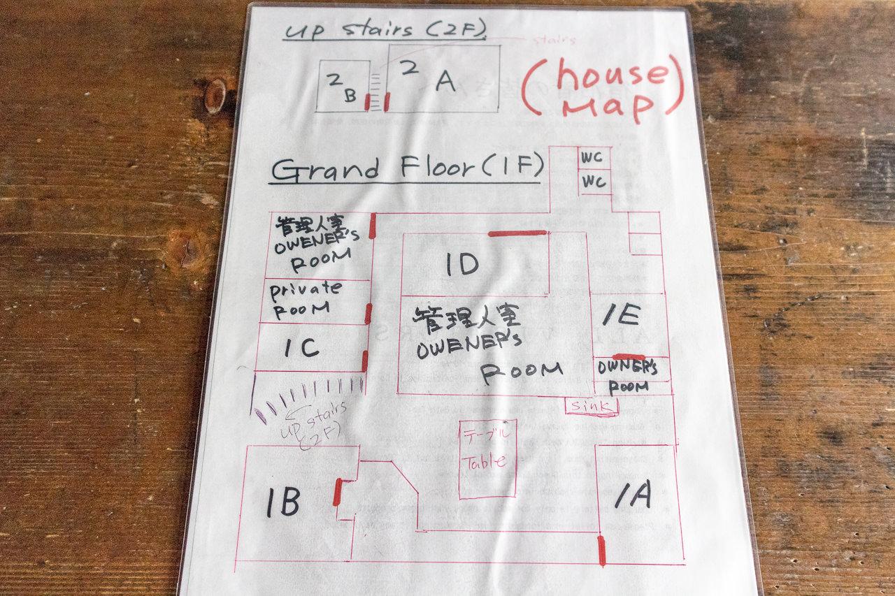 函館ゲストハウスの館内見取り図