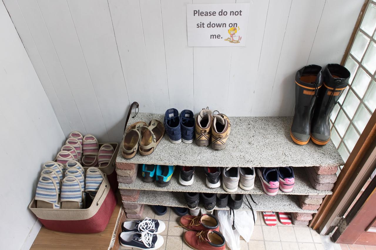 wagayado玄関の靴箱とスリッパ