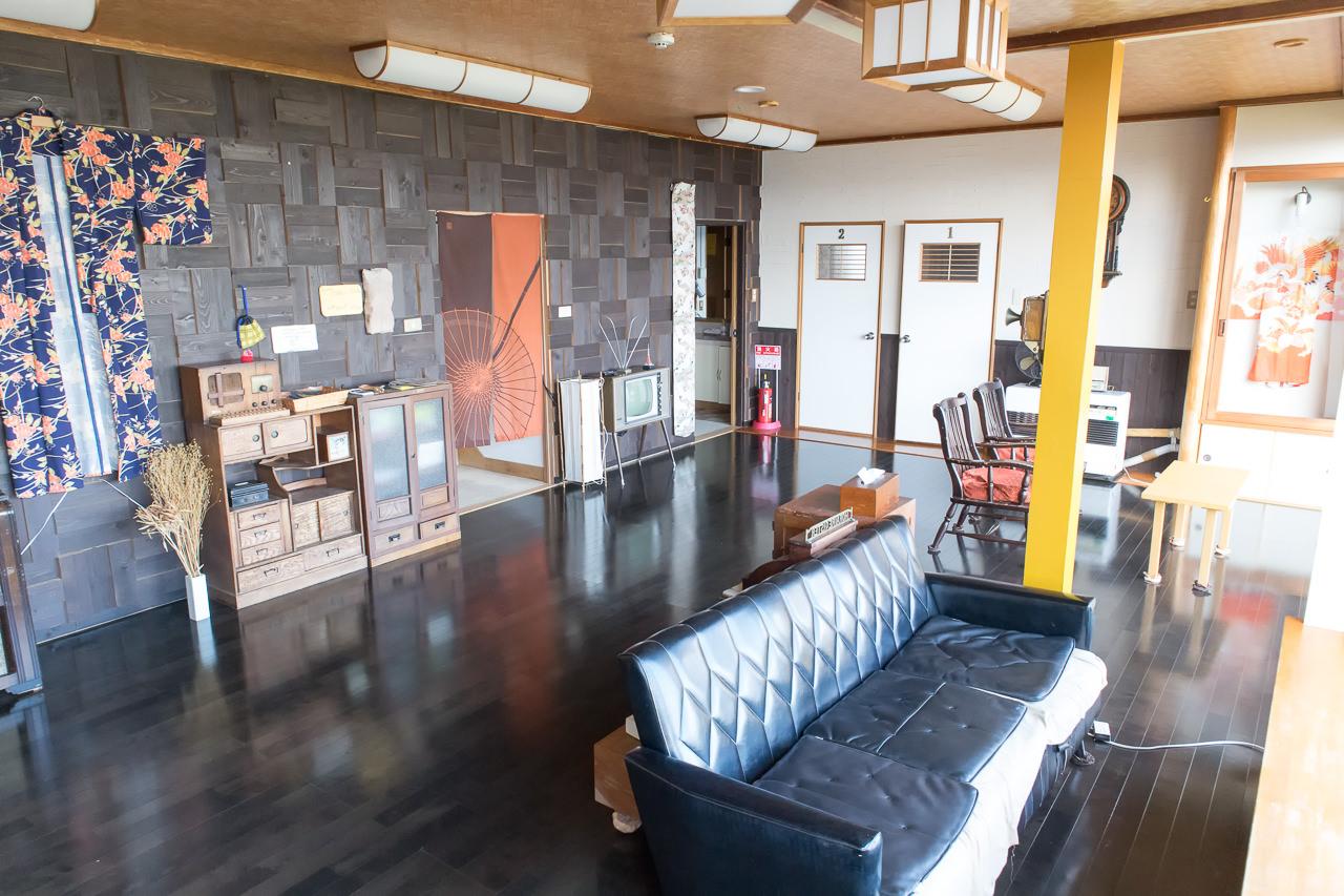 函館山ゲストハウスのフリーリビングスペース