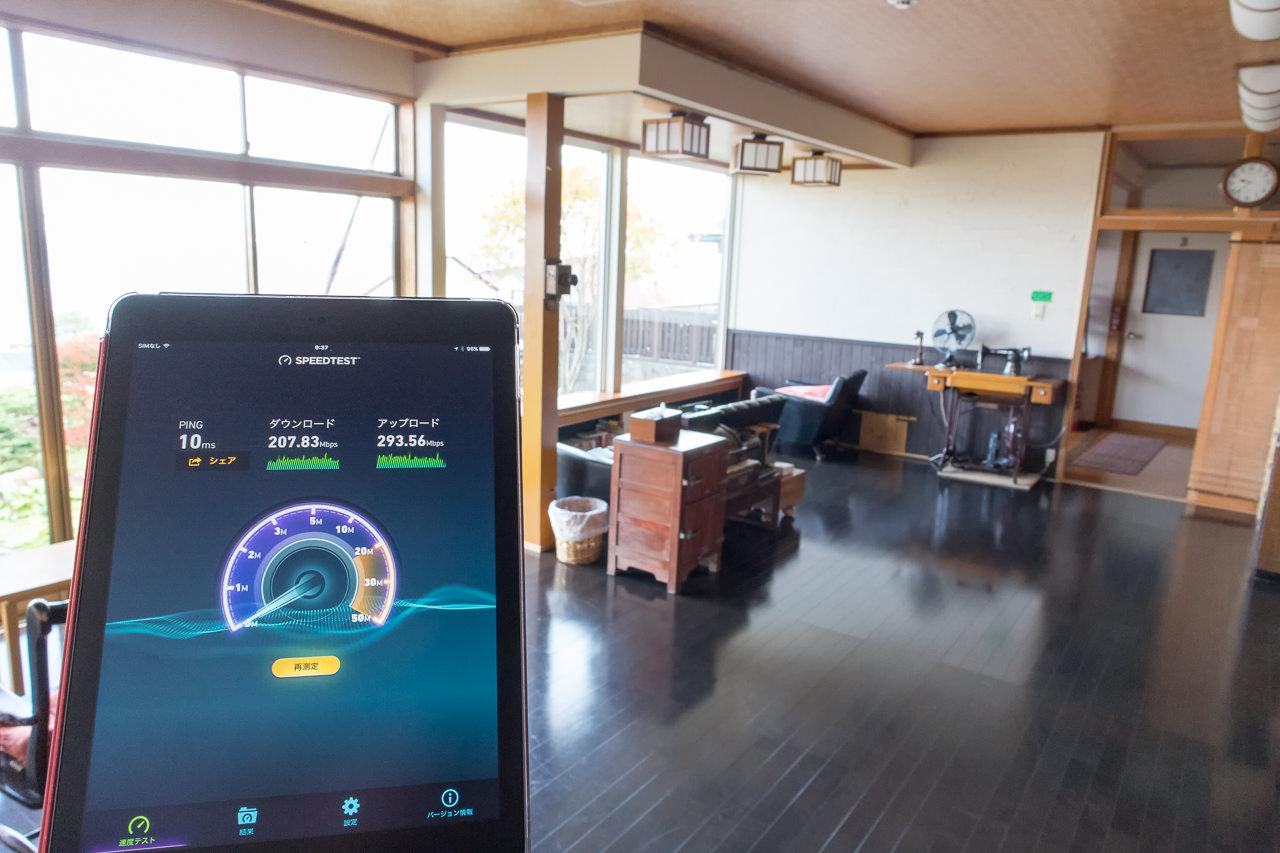 函館山ゲストハウスWi-Fi1階リビングで測定