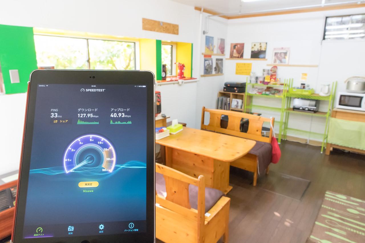 函館山ゲストハウスWi-Fi1階キッチンで測定