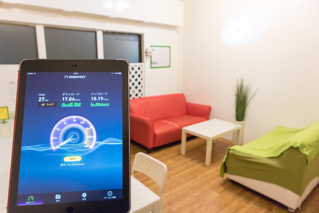 神戸三宮R2ホステル・Wi-Fiリビングルームで測定