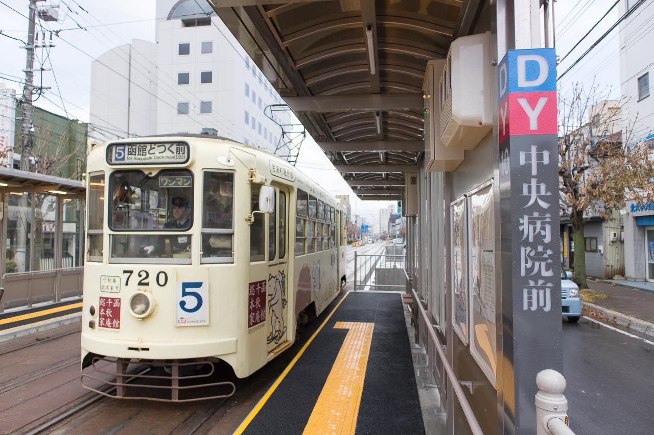 ゲストハウス函館サザン近くの函館市電「中央病院前」停留所