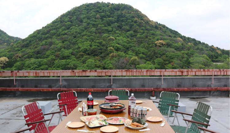 ゲストホテル関ロッジの屋上スペース